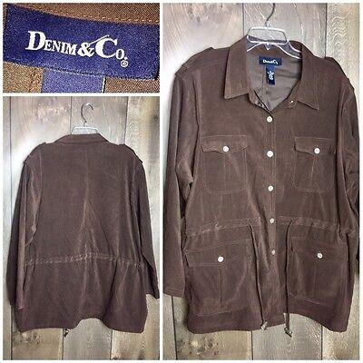Denim & Co. Womens Size 2X Jacket Brown Drawstring   H