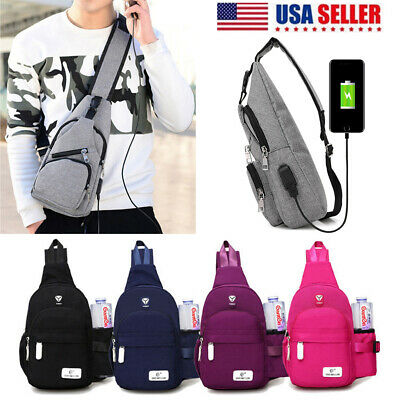 Unisex Shoulder Bag Sling Chest Pack Canvas USB Charging Nylon Crossbody Handbag