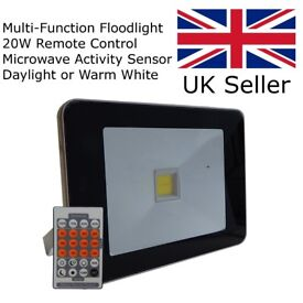 New Slim Security LED Floodlight - 20W Microwave Sensor with Remote Control