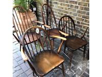 Vintage Ercol chairs, scandi, mid century, 2 carvers and 2 armchairs