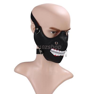 Halloween Steampunk halbe Gesichtsmaske Reißverschluss Zähne Cosplay