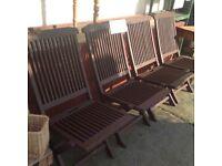 4 Gorgeous Solid wood dark oak garden chairs