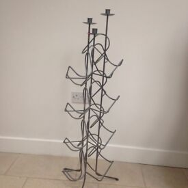 Wine rack with candle holder