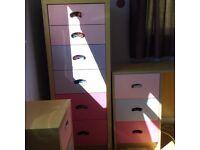 Girls bedroom furniture,desk/dressing table,bedside cabinet,tall 6drawer unit.