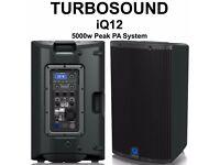 2 Turbosound IQ12 2500 Watt Powered Loudspeakers with KLARK TEKNIK DSP Technology