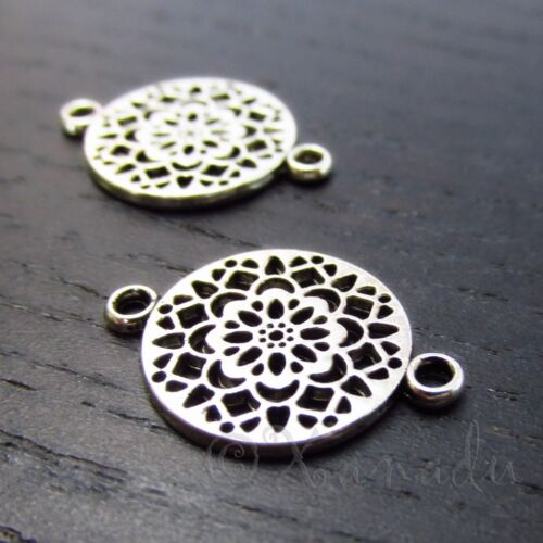 Mandala Connectors 20mm Antiqued Silver Plated Charms C3330 - 10, 20 Or 50PCs