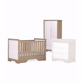 Half Price Sale - Brand New Boori Urbane Deco Wardrobe RRP £449, Cot Bed RRP £600 - Almond/White