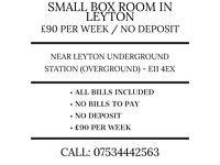 Single room in Leyton. £90 per week. No deposit. No bills. Near Leyton Station (Central Line)