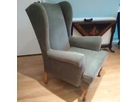 ANTIQUE Wing Back Chair, Green - Professionally Reupholstered