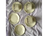 """3 Cups, 4 Saucers and 1 Small Plate of Royal Doulton """"Nimbus"""" Fine China"""