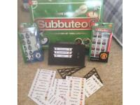 Subbuteo table top football game modern version with Man Utd and Chelsea teams plus scoreboard