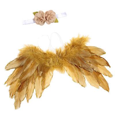 Baby-Foto-Requisiten Angel Fairy Wing Costume mit Blumen-Stirnband-Set