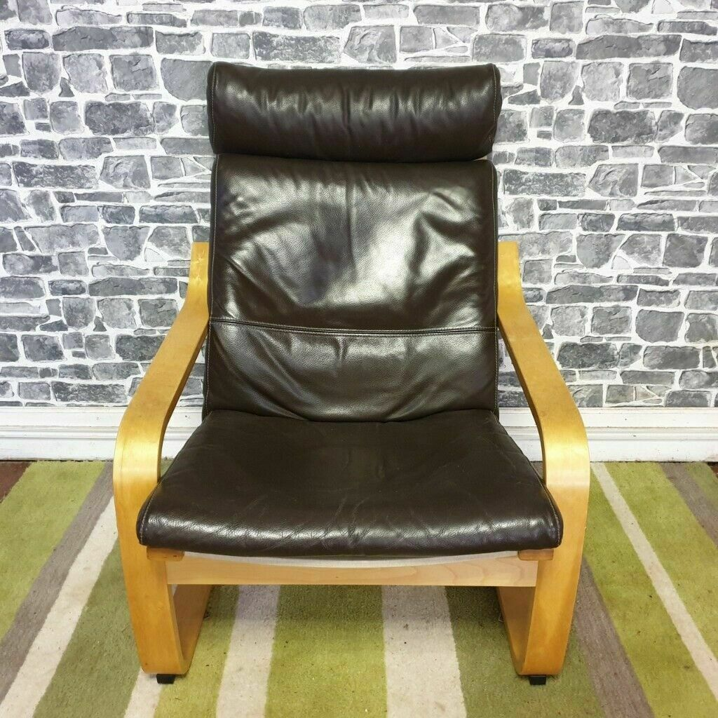 Ikea Poang Drak Brown Faux Leather Chair with 2 Small Bean ...