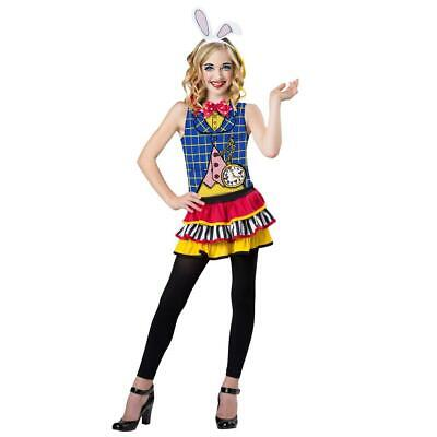 White Rabbit Girl Costume (NEW GIRLS TOTALLY GHOUL WHITE RABBIT COSTUME HALLOWEEN DRESS UP SIZE L)