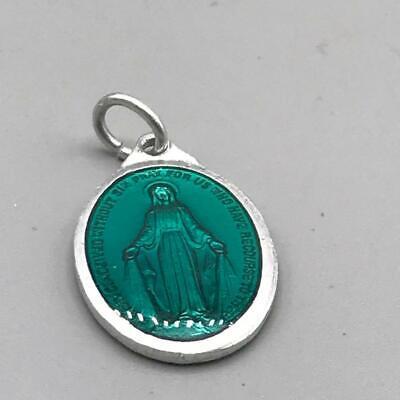 Mary Religious Medallion Pendant Vtg