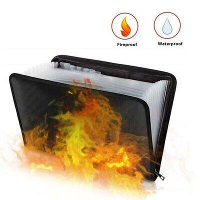 Fireproof File Folder Document Bag Waterproof Pouch Case Safe Zipper Office 1x