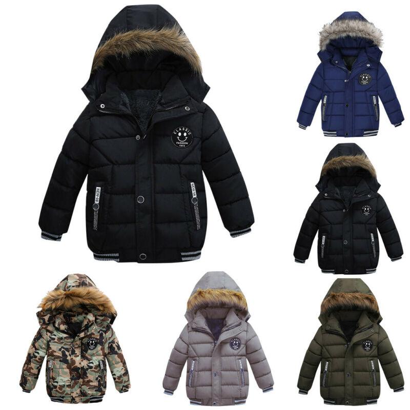 1-5T Boy Kid Winter Coat Hooded Warm Cotton Fur Padded Parka