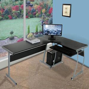 L Shape Corner Computer PC Desk Table Workstation Home Office Furniture