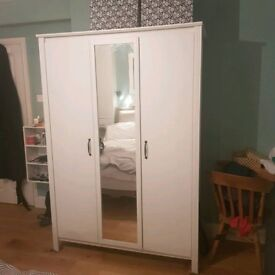 White Wooden Ikea Wardrobe - Less than a year old!