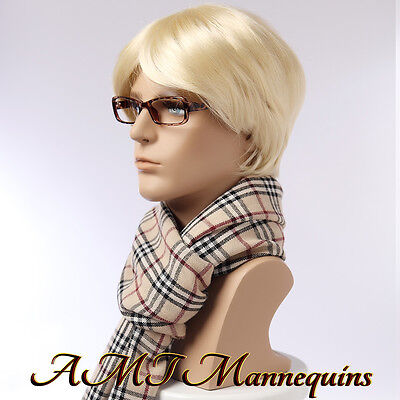 Male Mannequin Head Displays Wigs Hats Scarves Glasses Ear Phones Head - Mo
