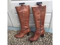 Ladies brown antiqued leather boots