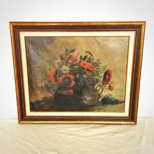 Antique Original Oil Painting Of Red Flowers In Brass Pot (Condition Noted)