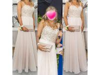 Champagne prom dress size 8 beautiful detail
