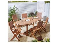*BRAND NEW* 7 Piece Extendable Garden Dining Set for patio FREE New Parasol and 4 cushions £345 ono