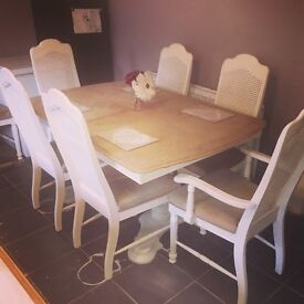 French style extending table and 8 chairs