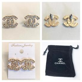 Chanel style earrings gold with diamontes