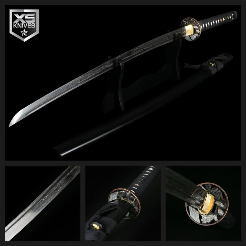 "41"" Real BATTLE READY Handmade DAMASCUS STYLE Japanese Samurai Katana Sword BLK"