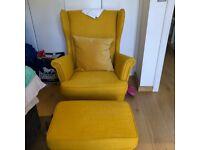 Armchair and Footstool Yellow IKEA