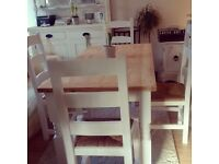 PINE TABLE WITH 2 DRAWERS AND 4 PINE CHAIRS FREE DELIVERY