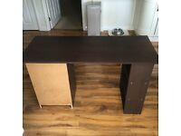 Dark Wood Desk, 3x drawers and shelves. H-73 W-120 Depth-49