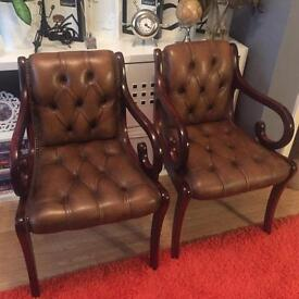Chesterfield dining chairs X2