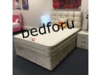 Double Divan Crush Velvet Complete Bed with memory foam or orthopedic mattress.