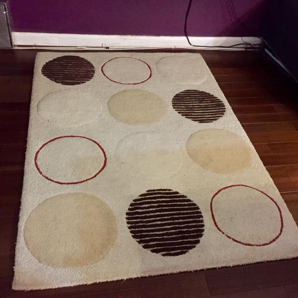 100% wool rug cream red brown