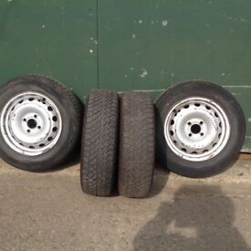 Vauxhall Combo Wheels with snow/mud tyres. as new.
