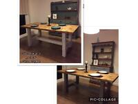 Unique custom- made rustic reclaimed wood dining table