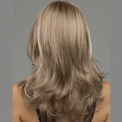 Frauen hellbraune lange gewellte lockige Perücke Kunsthaar - Braunes Lockiges Haar Kostüm