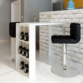 Bar Table MDF with Wine Rack High Gloss White-240820