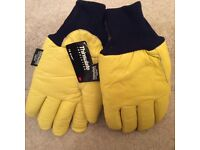 Yellow leather thinsulate gloves by 3M, high insulation 70g for cold temperature bargain reduced