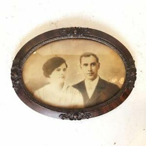 Antique Victorian Portrait Of Couple In Ornate Wood Oval Bubble Convex Glass Frame