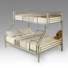 CHEAPEST PRICE GUARANTEED - WOW OFFER - NEW TRIO SLEEPER METAL BUNK BED SAME DAY EXPRESS DELIVERY