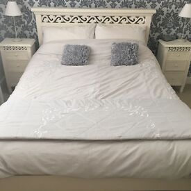 bedroom furniture - shabby chic double bed, bedside tables, bookcase & shelf