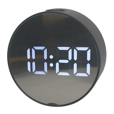 Digital Clock Large Display, LED Electric Alarm Clock Mirror Surface Oval 02
