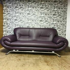 Two Seater Faux Leather Sofa, Chrome Legs