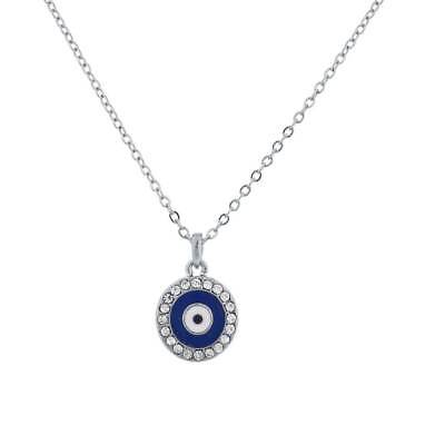 Lux Accessories Silvertone Blue Evil Eye Protection Charm Delicate Necklace - Blue Accessories