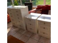 Bedroom furniture - set of two bedside cabinets and chest of drawers