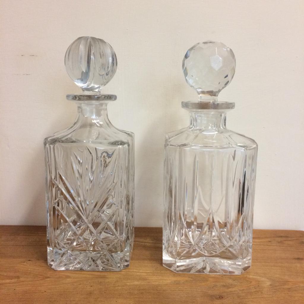 TWO CUT GLASS HEAVY DECANTORS